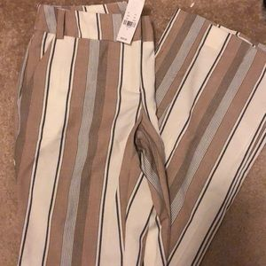 Brand new brown/white striped straight trousers